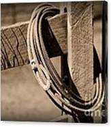 Lasso On Fence Post Rustic Canvas Print