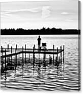 Last Cast In Bw Canvas Print