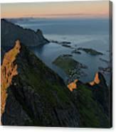 Last Light Illuminates Mountain Ridge Canvas Print