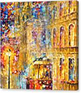 Last Trolley - Palette Knife Oil Painting On Canvas By Leonid Afremov Canvas Print