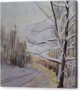 Last Winter Sunset Snow Scene Canvas Print