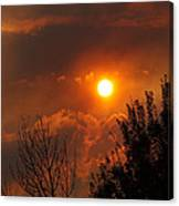Late Afternoon Sun Through Smoke And Clouds Canvas Print