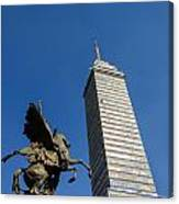 Latin American Tower And Statue Canvas Print