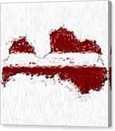 Latvia Painted Flag Map Canvas Print