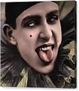 Laughing Pierrot Clown Vintage Art Canvas Print