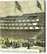 Launch Of Hms. Windsor Castle 140 Guns 1852 Canvas Print