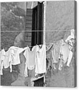Laundry I Black And White Venice Italy Canvas Print