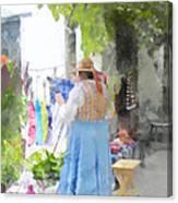 Laundry Line Under The Grape Arbor Canvas Print