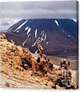 Lava Sculptures And Volcanoe Mount Ngauruhoe Nz Canvas Print