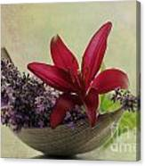 Lavender Boat With Lilies Canvas Print