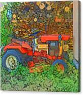 Lawn Tractor And Wood Pile Canvas Print