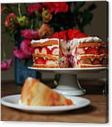Layered Strawberry Cake With Background Canvas Print