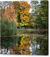 Lazienki Park Autumn Scenery In Warsaw Canvas Print