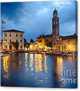 Lazise Harbor Night Scenic Canvas Print