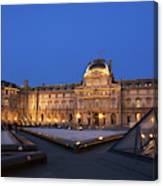 Le Louvre Palace Buildings And Pyramids Canvas Print