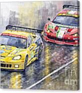 2011 Le Mans Gte Pro Chevrolette Corvette C6r Vs Ferrari 458 Italia Canvas Print