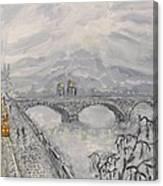 Leaden Winter In Golden Prague  Canvas Print