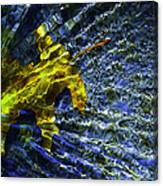 Leaf In Creek - Blue Abstract Canvas Print