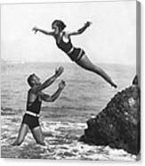 Leap Into Life Guard's Arms Canvas Print