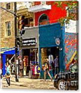 Leather Garments Cuir Monde Mont Royal Scala Pour Hommes Busy Montreal City Scene Carole Spandau  Canvas Print