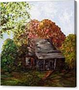 Leaves On The Cabin Roof Canvas Print
