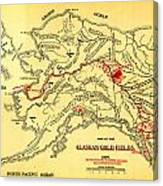 Lees Map Of The Alaskan Gold Fields 1897 Canvas Print