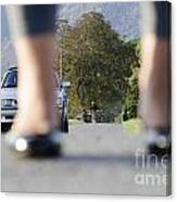 Legs And Car Canvas Print