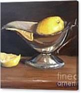 Lemon In Saucer Canvas Print