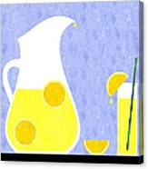 Lemonade And Glass Blue Canvas Print
