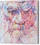 Leo Tolstoy/ Colored Pens Portrait Canvas Print