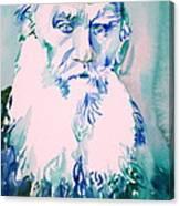 Leo Tolstoy Watercolor Portrait.2 Canvas Print