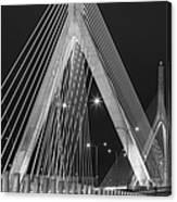 Leonard P. Zakim Bunker Hill Memorial Bridge Bw Canvas Print