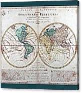 Leonhard Euler World Map 1760 Ad With Matching Grey Aqua Small Border Canvas Print