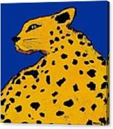 Leopard On Blue Canvas Print