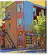 Les Saveurs Cafe Resto Grillades Tapas Petit Dejeuner Montreal French Cafe City Scene Carole Spandau Canvas Print