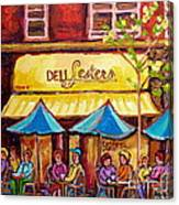 Lester's Deli Montreal Smoked Meat Paris Style French Cafe Paintings Carole Spandau Canvas Print