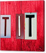Let It Be License Plate Letter Vintage Phrase Word Artwork On Red Wood Canvas Print