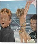 Beach - Children Playing - Kite Canvas Print