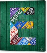 Letter E Alphabet Vintage License Plate Art Canvas Print