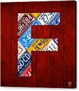 Letter F Alphabet Vintage License Plate Art Canvas Print