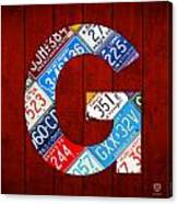 Letter G Alphabet Vintage License Plate Art Canvas Print