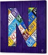 Letter N Alphabet Vintage License Plate Art Canvas Print
