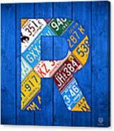 Letter R Alphabet Vintage License Plate Art Canvas Print