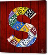 Letter S Alphabet Vintage License Plate Art Canvas Print