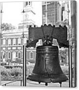 Liberty Bell And Independence Hall Bw Canvas Print