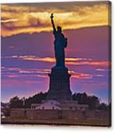Liberty Statue Silhouette Sunset Canvas Print