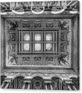 Library Of Congress Main Hall Ceiling Bw Canvas Print