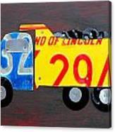 License Plate Art Dump Truck Canvas Print