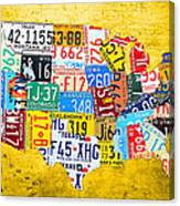 License Plate Art Map Of The United States On Yellow Board Canvas Print