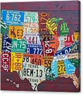 License Plate Map of The United States Canvas Print